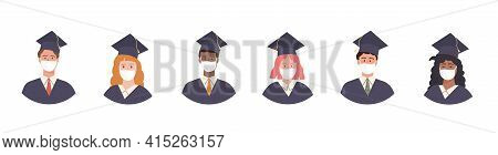 Set Of Graduated Students Avatar In Academic Gown And Cap. Pupil Graduation During Pandemic Wearing