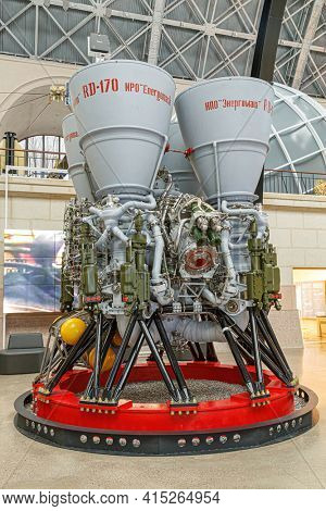 Moscow, Russia - November 28, 2018: Rocket engine RD-170. Space museum. Inside The Cosmonautics and Aviation Centre in the Cosmos pavilion of VDNH. Aircraft exhibition. Rocket science.