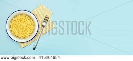 Pasta Banner Background. Mac And Cheese Pasta On A Blue Background. American Style Italian Pasta Wit