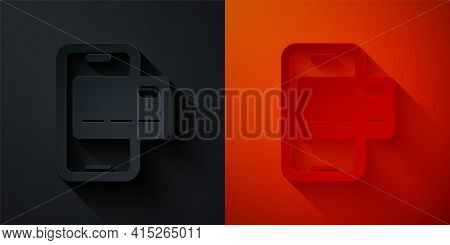Paper Cut Mobile Banking Icon Isolated On Black And Red Background. Transfer Money Through Mobile Ba