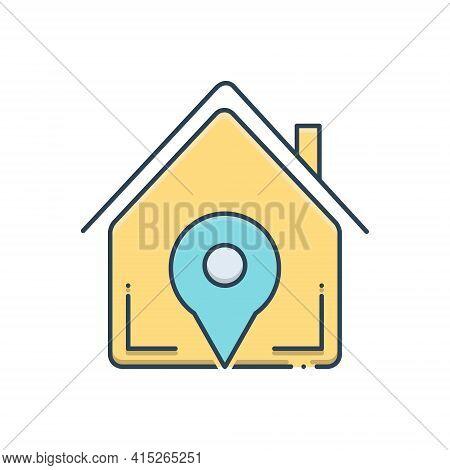 Color Illustration Icon For Real-estate-location Real Estate Location Navigation Home Property