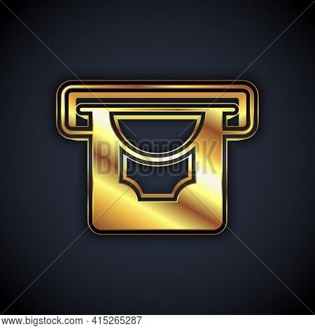 Gold Atm - Automated Teller Machine And Money Icon Isolated On Black Background. Vector