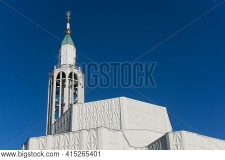 Saint Roch Church In Bialystok City In Poland. White Catherdal Building. Empty Copy Space Blue Sky.