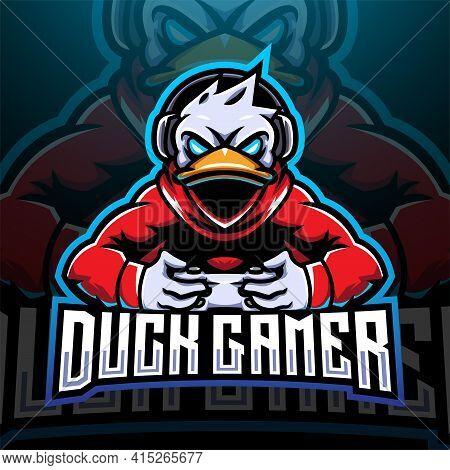 Duck Gamer Esport Mascot Logo Design With Text