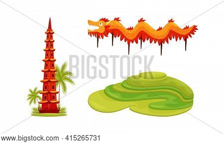 Vietnam Country Landmarks With Pagoda, Rice Paddy And Dragon Vector Set