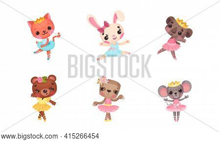 Cute Mammals With Mouse And Koala In Ballerina Dress And Crown On Head Dancing Vector Set