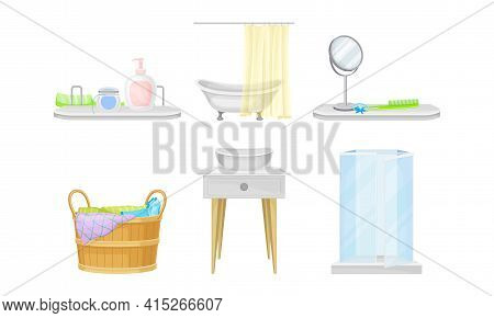 Bathroom Items With Pieces Of Furniture And Lavatory Equipment Vector Set