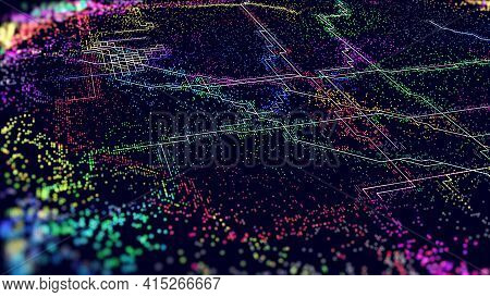 Iot Abstract Vector Background. Futuristic Tech. Internet Digital Iot Technology