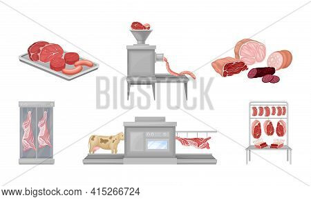 Beef Meat And Sausage Products Automated Factory Production Line Process Vector Set