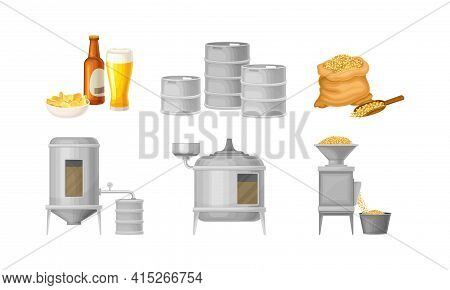 Beer Brewing Process With Steeping Cereal Grains Vector Set
