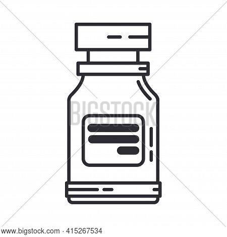 Line Medical Healthcare Art Icon Flask, Tube. Professional Equipment Symbol. Science, Pharmacy, Medi