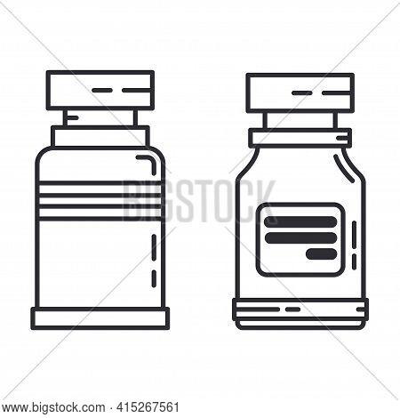 Line Medical Healthcare Icon Set Flask, Tube. Professional Equipment Symbol. Science, Pharmacy, Medi