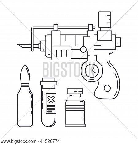 Line Medical Healthcare Art Icon Set Injection Gun, Ampoule, Syringe. Professional Equipment Symbol.