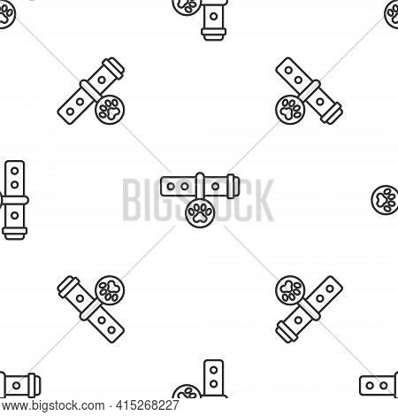 Grey Line Collar With Name Tag Icon Isolated Seamless Pattern On White Background. Supplies For Dome