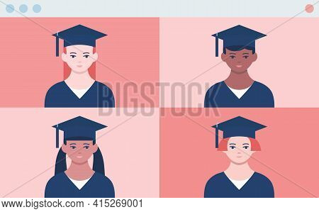 Distance Graduation Ceremony. Online Prom. Four Screen Of Video Call With First Face Pov View