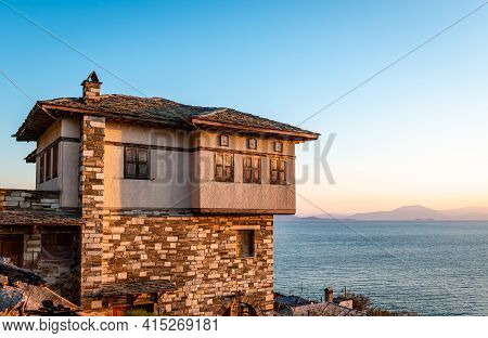 A Traditional Old Mansion In Afissos, Greece, With View To The Pagasetic Gulf. It Is Built Of Stone