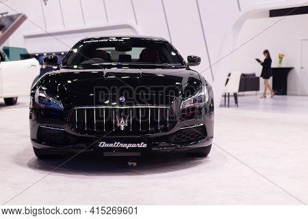 Nonthaburi, Thailand - March 25,2021 : View Of Maserati Quattroporte Car On Display At Thailand Inte
