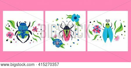 Cartoon Beetle Poster Set. Doodle Bright Colorful Hand Drawn Bug, Cute Beautiful Insect Pink And Blu