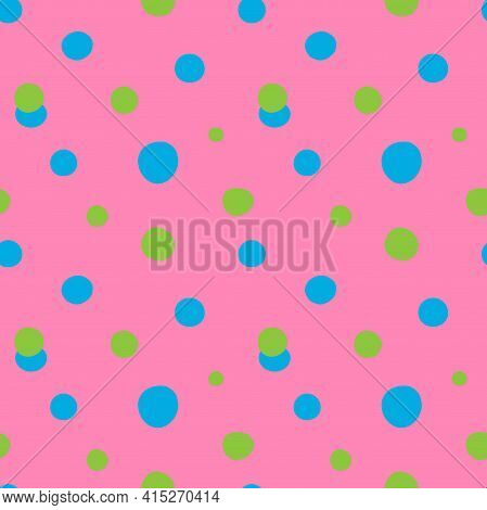 Doodle Dots Seamless Pattern. Hand Drawn Decor Textile, Cute Ornament Blue And Green Circles On Pink