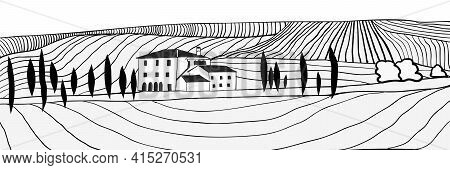 Black And White Hand Drawn Toscana Countryside