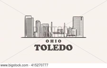 Toledo Skyline, Ohio Hand Drawn Sketch Illustration