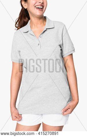 Woman wearing basic gray polo shirt apparel