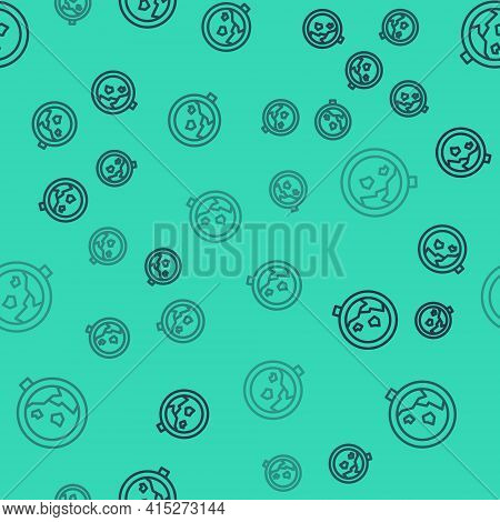Black Line Road Sign Warning Avalanche Rockfall Landslides Icon Isolated Seamless Pattern On Green B