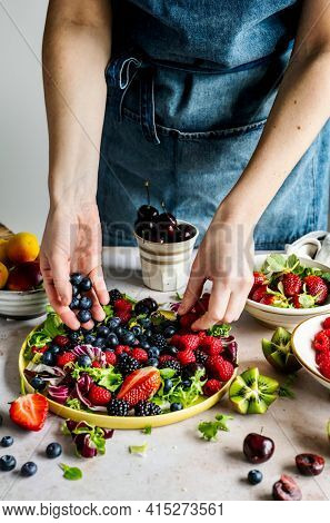 Salad bowl preparation for brunch food photography