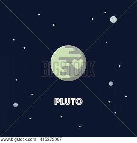 Pluto On Space Background. Star And Planets On Galaxy Background. Flat Style Vector Illustration