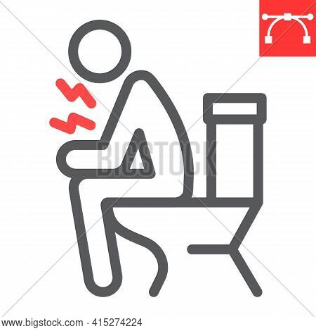 Diarrhea Line Icon, Covid-19 And Constipation, Man Sitting On Toilet Vector Icon, Vector Graphics, E