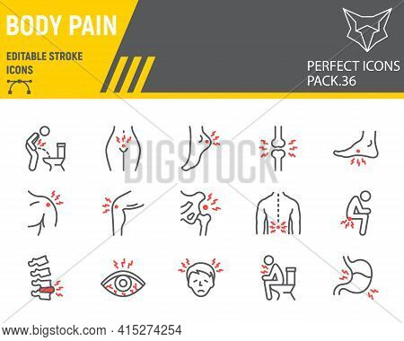 Body Pain Line Icon Set, Body Ache Collection, Vector Graphics, Logo Illustrations, Body Pain Vector