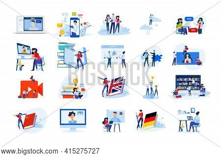 Set Of Modern Flat Design People Icons Of Distance Education, E-learning, School, Video Call, Online