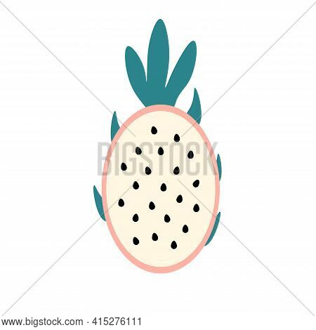 Pitaya Sectional - Exotic Tropical Fruit On Isolated Background. Vector Illustration.