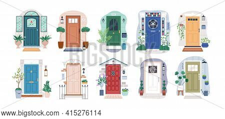 Set Of Different House Entrances, Porches And Closed Doors. Entries To Apartments With Potted Plants