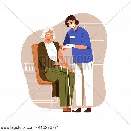 Nurse With Syringe Vaccinating Aged Person With Anti-virus Vaccine Injection In Hospital. Vaccinatio