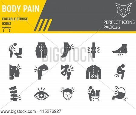Body Pain Glyph Icon Set, Body Ache Collection, Vector Graphics, Logo Illustrations, Body Pain Vecto