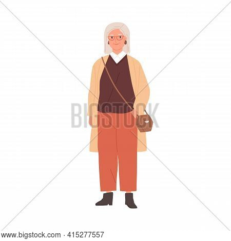 Portrait Of Aged Gray-haired Woman Wearing Stylish Casual Clothes And Accessories. Trendy Outfit Of