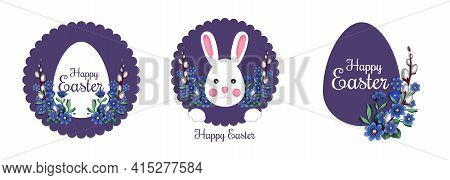Festive Easter Banner Set With Traditional Easter Greeting. Happy Easter. Spring Flowers And Easter