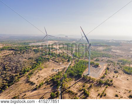 Wind Turbine From Aerial View - Sustainable Development, Environment Friendly, Renewable Energy Conc