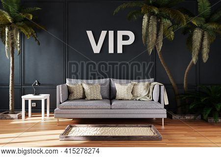 Elegant Living Room Interior With Vintage Sofa Between Large Palm Trees; Vip Concept Immersive Enter