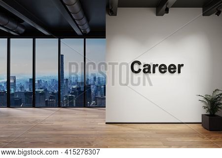Luxury Loft With Skyline View, Wall With Career Lettering, 3d Illustration