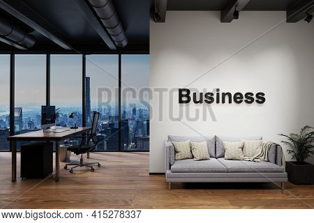 Luxury Loft With Skyline View And Vintage Couch Pc Workplace, Wall With Business Lettering, 3d Illus