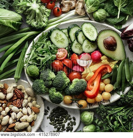 Raw veggies and nuts flat lay food photography