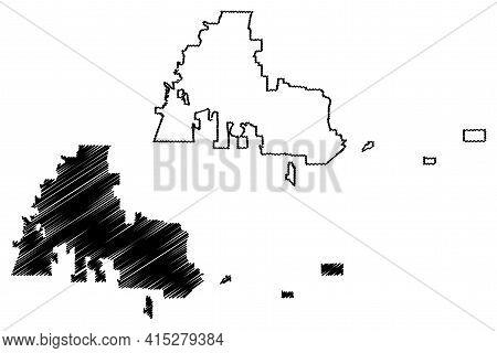 Kent City, Washington (united States Cities, United States Of America, Usa City) Map Vector Illustra