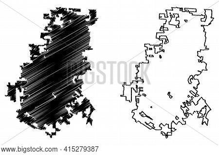 Lafayette City, Louisiana (united States Cities, United States Of America, Usa City) Map Vector Illu