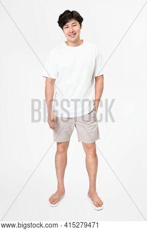 White t-shirt and shorts men's basic wear full body