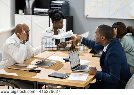 Angry Office Business Meeting Argument. African Group Arguing And Fighting