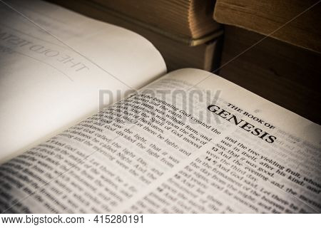 Chiang Mai, Thailand. 30 March 2021. The Book Of Genesis The Holy Bible, King James Version.