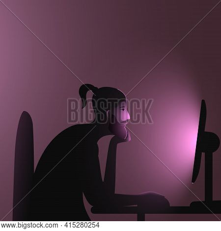 Internet Addiction. A Caucasian Man With Ponytail Sits At A Computer Late At Night. Vector Illustrat