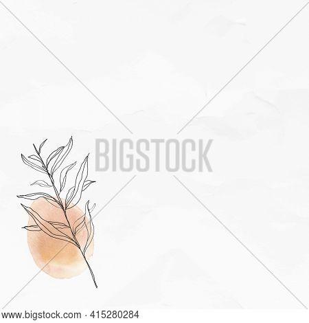 Textured background with leaf line art illustration
